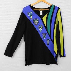 Bob Mackie Color Block African Animal Sweater